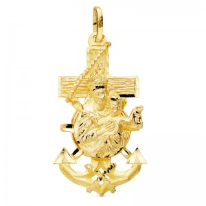 Cruz Marinera de Oro 18kt con Virgen del Carmen 35x19mm
