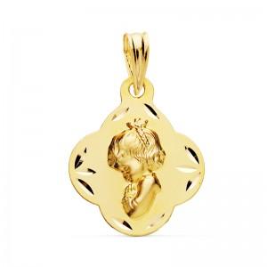Medalla Virgen Niña Oro 18kt tallada 19 X 16mm