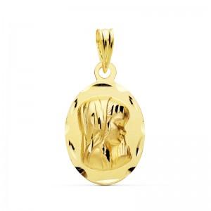 Medalla Virgen Niña Oro 18kt tallada 19 X 12mm