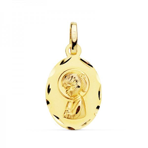 Medalla Virgen Niña Oro 18kt oval tallada 19 x 12mm