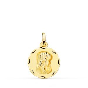Medalla Virgen Niña Oro 18kt matizada y tallada 16mm