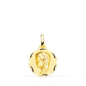 Medalla Virgen Niña Oro 18kt tallada 14mm