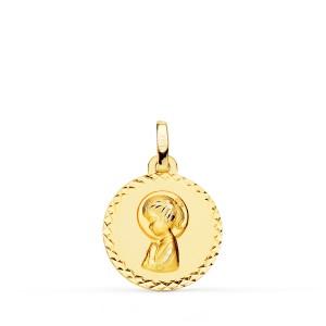 Medalla Virgen Niña Oro 18kt tallada cruzada 16mm