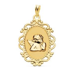 Medalla Ángel Burlón Oro 18kt brillo Y cerco calado 23 X 16mm
