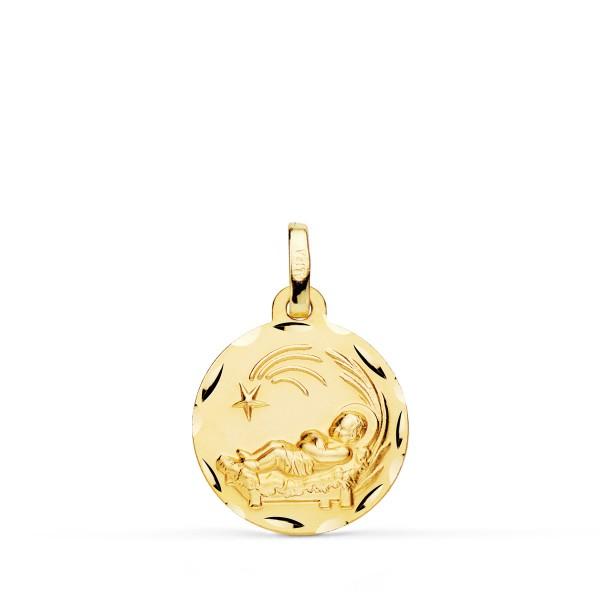 Medalla para bebé Niño del Pesebre en Oro de 18Kt tallada -16mm