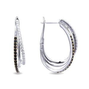 Pendientes Raeesa de plata con circonitas blancas y negras