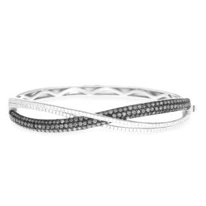 Pulsera Stellat rigida de plata con circonitas blancas y negras