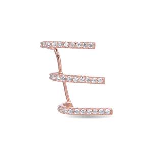 Earcuff Anvirus de plata con baño oro rosa y circonitas