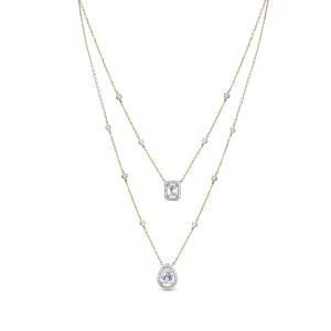 Collar Saneli doble de plata dorada con circonitas