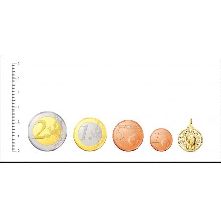Medalla de Virgen Niña rodeada de estrellas caladas en Oro 18kt 19 x 16mm