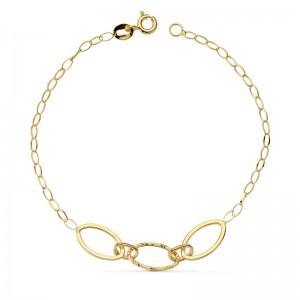 Pulsera en Oro 18kt con cadena de eslabones ovalados -18cm