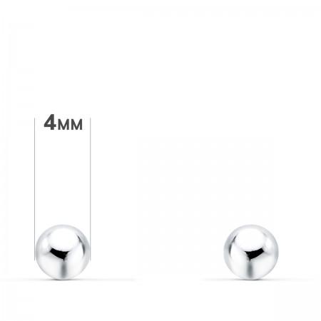 Pendientes de bolas lisas 4mm Oro Blanco 18kt