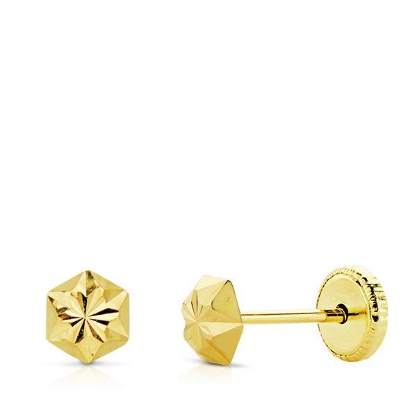 Pendientes en forma de clavo tallado Oro 18kt -4mm
