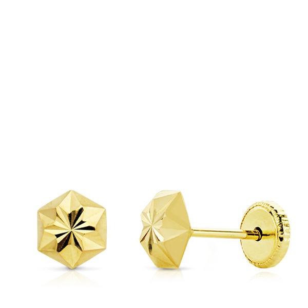 Pendientes en forma de clavo tallado Oro 18kt -5mm