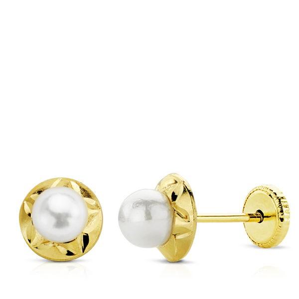 Pendientes tallados con perlitas Oro 18kt