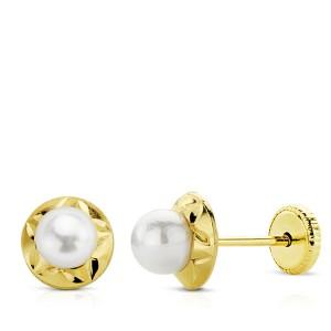 Pendientes con perlitas Oro 18kt