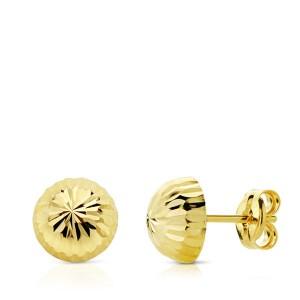 Pendientes media bola tallada de Oro 18kt