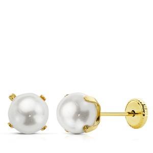 Pendientes de Perlas de 6mm con garras Oro 18kt
