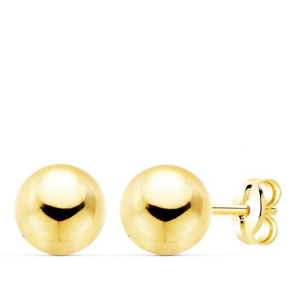 Pendientes de bolas lisas de 7mm hechos en Oro 18kt