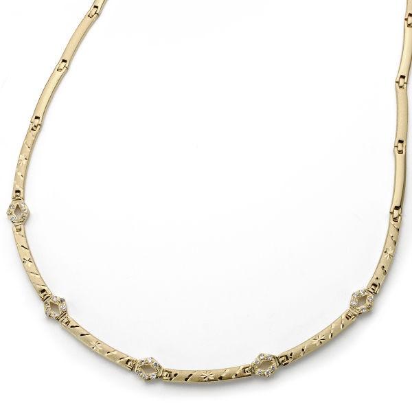 Collar de Oro 18kt con eslabones diamantados y circonitas