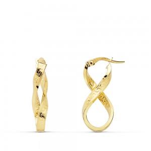 Aros Oro 18kt con forma de 8 con dibujo de greca