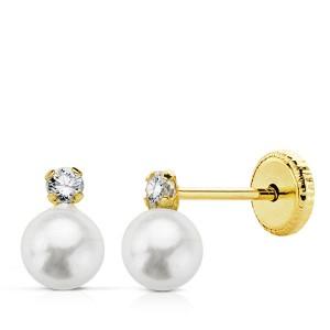 Pendientes Tu&Yo bebé con circonita en garra y perla blanca en Oro de 18Kt