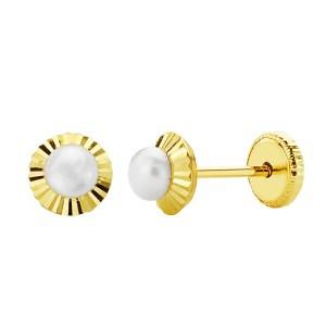 Pendientes 18kt de perlas 5mm con orla tallada.