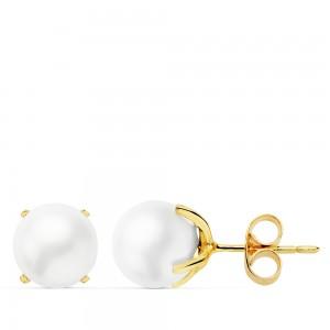 Pendientes de Perlas Cultivadas 7mm montadas en Oro 18kt