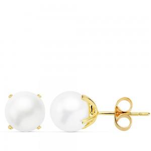 Pendientes de Perlas Cultivadas 8mm montados en Oro 18kt