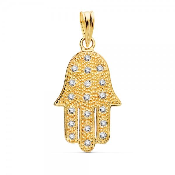Colgante Mano de Fatima de Oro 18kt con circonitas