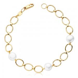 Pulsera de niña Oro 18kt con eslabones ovalados y perlas blancas 18cm