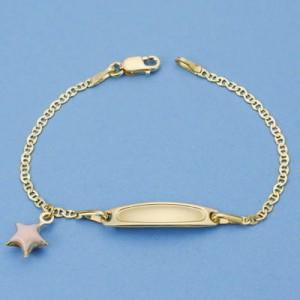 Esclava con colgante de estrella en Oro de 18 Kt -13 cm