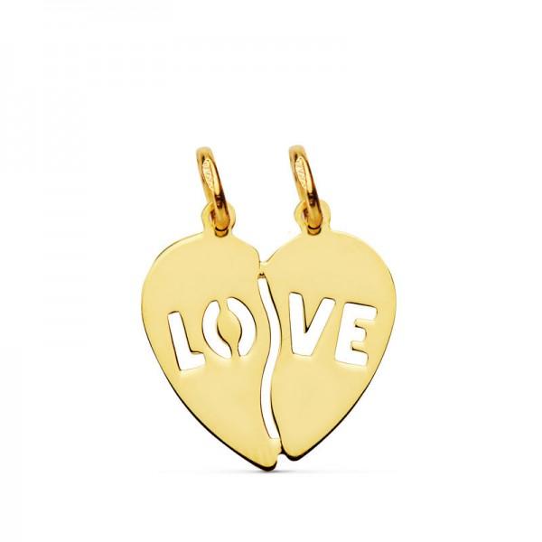 """Colgante Corazon Partido """"Love"""" de Oro 18kt"""