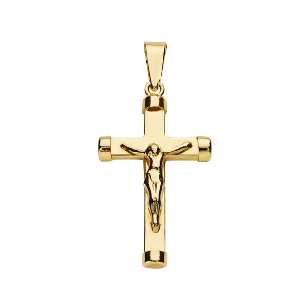 Cruz de Oro 18kt con palo rectangular y Cristo.