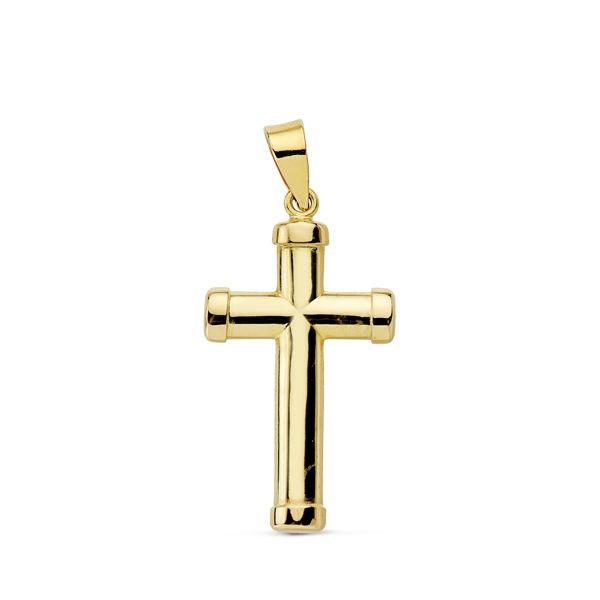 Cruz lisa de Oro 18kt con palos ovalados