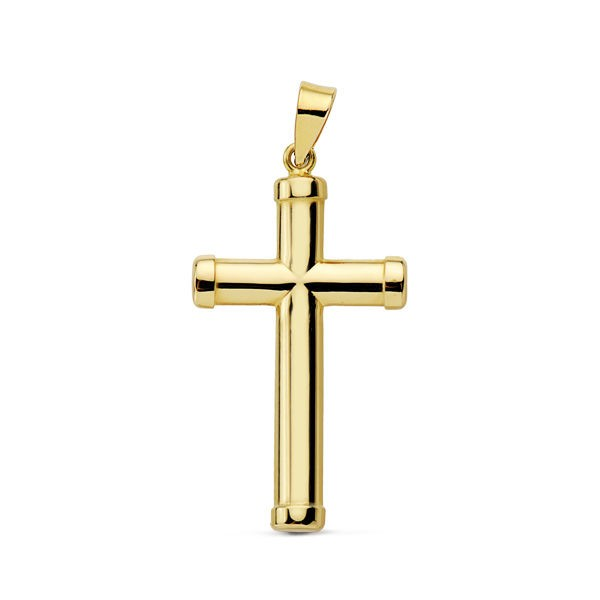 Cruz lisa clasica Oro 18kt con palos redondos