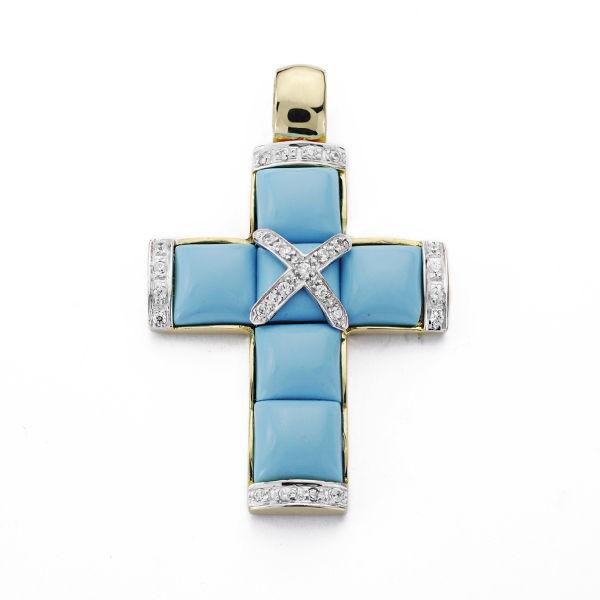 Cruz de Oro 18kt con Turquesas y Circonitas