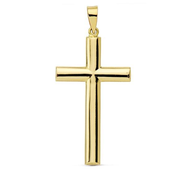 Cruz lisa con palos redondos de Oro 18kt 31 x 17mm