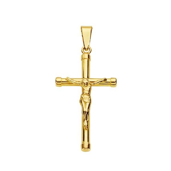 Cruz de Oro 18kt con Cristo palos redondos