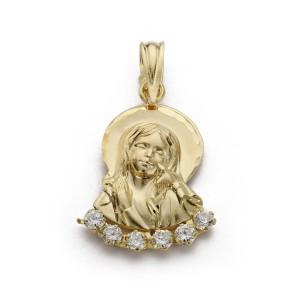 Colgante Virgen Niña Oro 18kt con circonitas 22 X 13mm