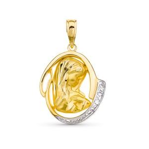 Medalla Virgen Niña Oro 18 kt 20 X 16mm