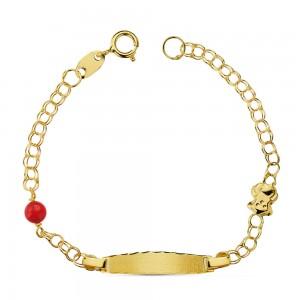 Esclava para niña con osito y coral en Oro 18 Kt -12,5 cm