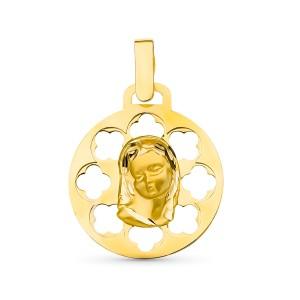 Medalla Virgen Niña Oro 18KT calada 18 mm.