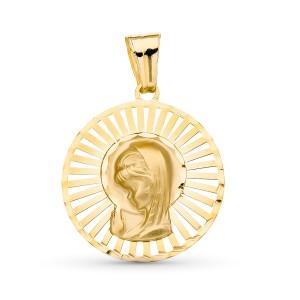 Medalla Virgen Niña Oro 18kt calada 22 X 20mm