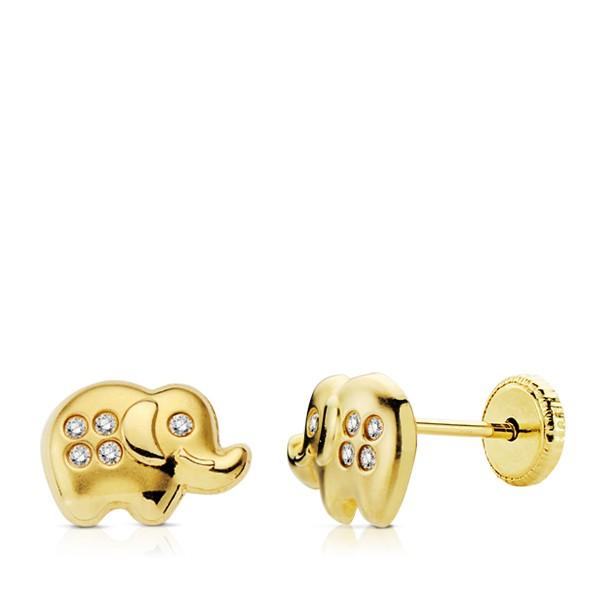 Pendientes de Elefantes con circonitas Oro 18kt.