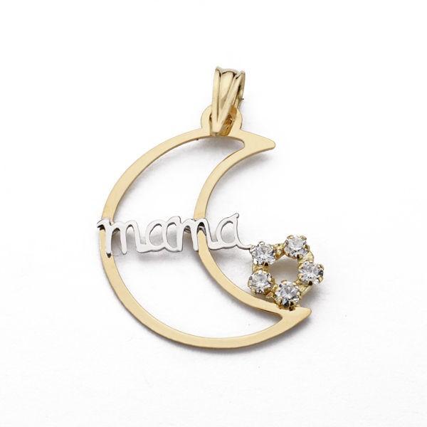 Colgante de Oro 18kt en forma de media luna y con letras MAMA
