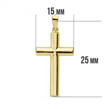 Cruz lisa con palos redondos de Oro 18kt