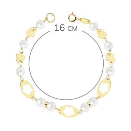 Pulsera para niña con perlas y flores caladas en Oro 18kt 16cm