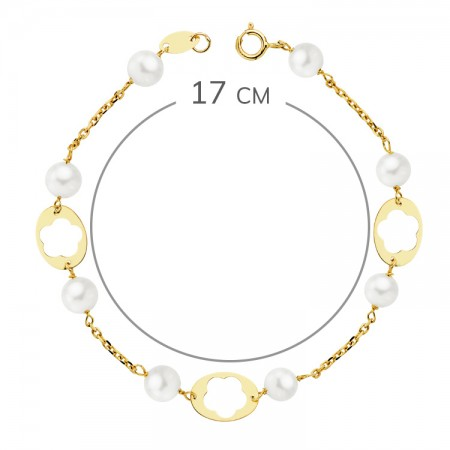 Pulsera para niña en Oro 18kt con perlas blancas - 17cm