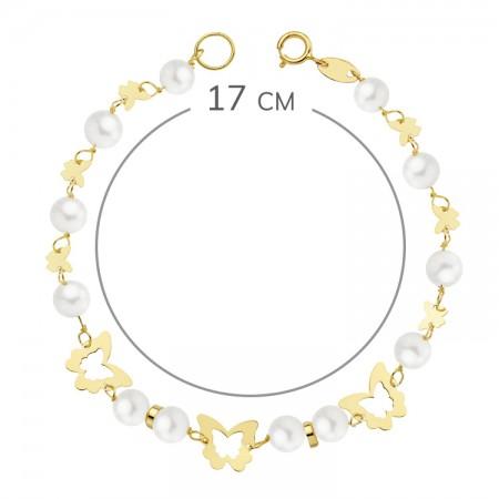 """Pulsera """"Ponsa"""" Oro 18kt para 1ª Comunión con perlas y mariposas caladas - 17cm"""